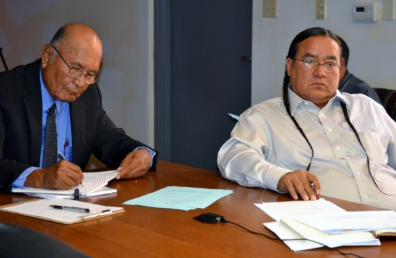 Navajo Oil and Gas Company interim Chief Executive Officer Louis Denetsosie and NOGC Board President Leonard Eltsosie made the tribal enterprises's annual report to the Navajo Council Law and Order Committee in the north conference room of the Council chamber on Aug. 18, 2014. Photo by Marley Shebala. (Please provide proper photo credit when reusing photo.)