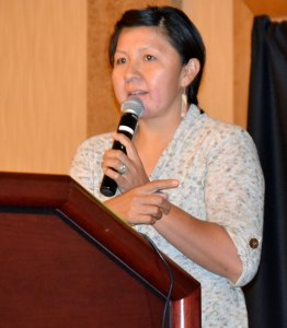 "Navajo Nation veterinarian Dr. Kelly Upshaw-Bia presented ""Understanding the Past to Protect our Future"" at Navajo Nation Horse conference at Twin Arrows Casino & Resort on Aug. 16, 2014. Photo by Marley Shebala. (Please provide proper photo credit when reusing photo.)"
