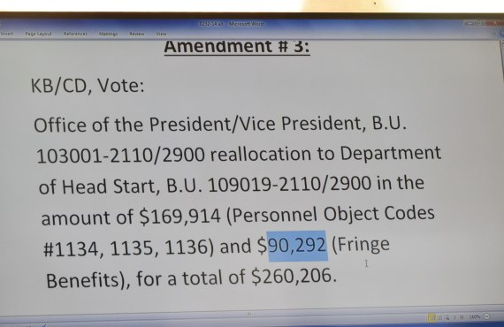 Navajo Council Delegate Katherine Benally's proposed amendment to the proposed 2015 Budget to take three staff assistant positions from Office of President and Vice President. Photo by Marley Shebala. (Please provide proper photo credit when reusing photo.)