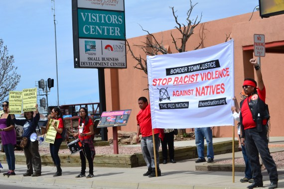 The Red Nation of Albuquerque held an April 4, 2015, demonstration and memorial for 170 individuals who have died of unnautural causes in Gallup, N.M., since July 2013. Most the deaths were alcohol-related. Photo by Marley Shebala.