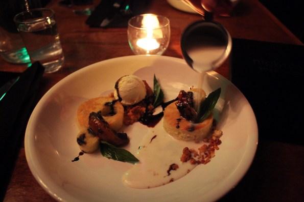Olive Oil Cake, charred apricot, buttermilk gelato, basil milk