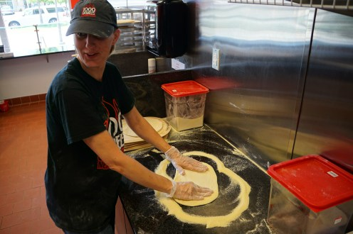 Rolling out fresh dough