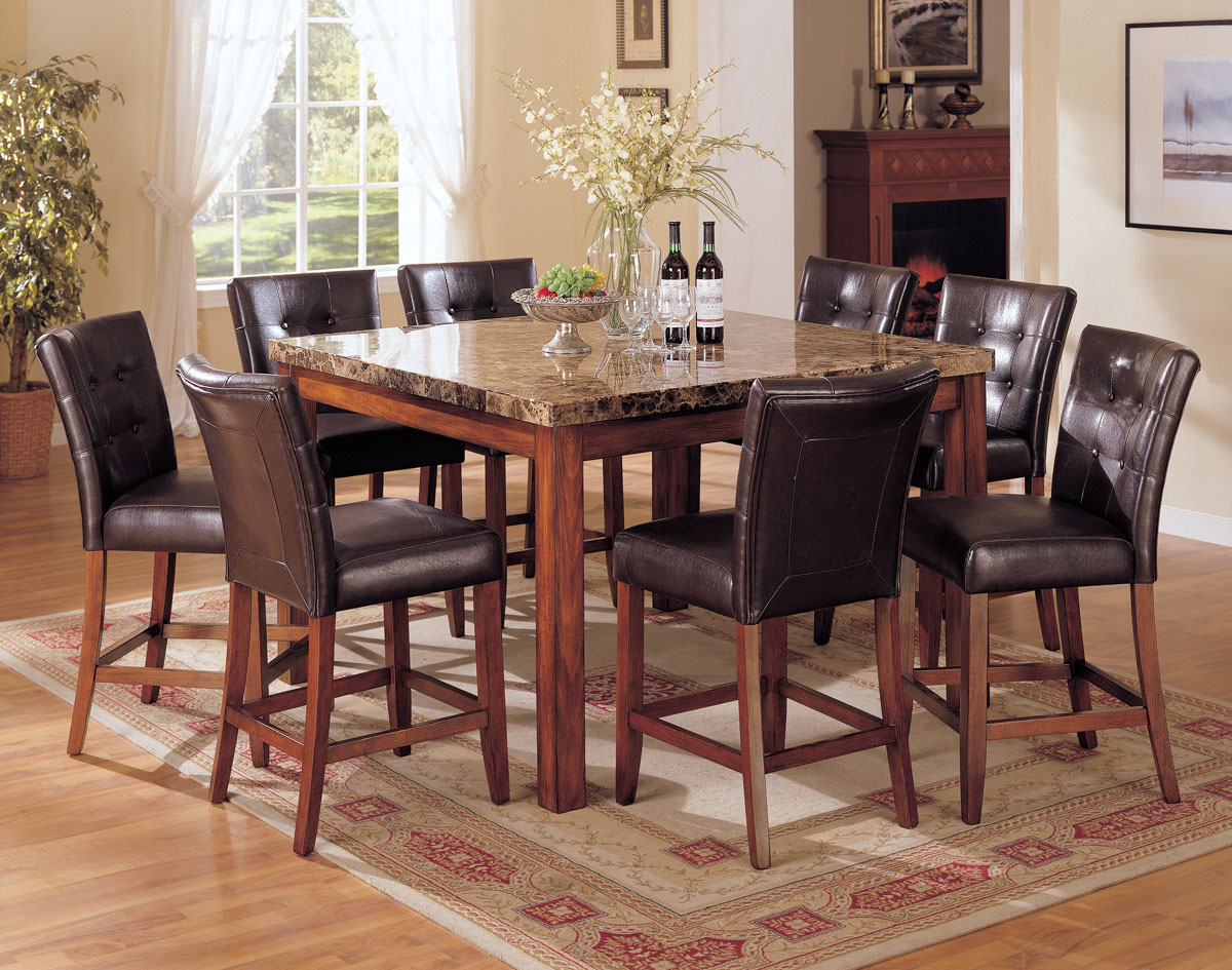 acme bologna 7 pc marble top square counter height dining table set in brown bar top kitchen tables Acme Bologna 7 pc Marble Top Square Counter Height Dining Table Set in Brown by Dining Rooms Outlet