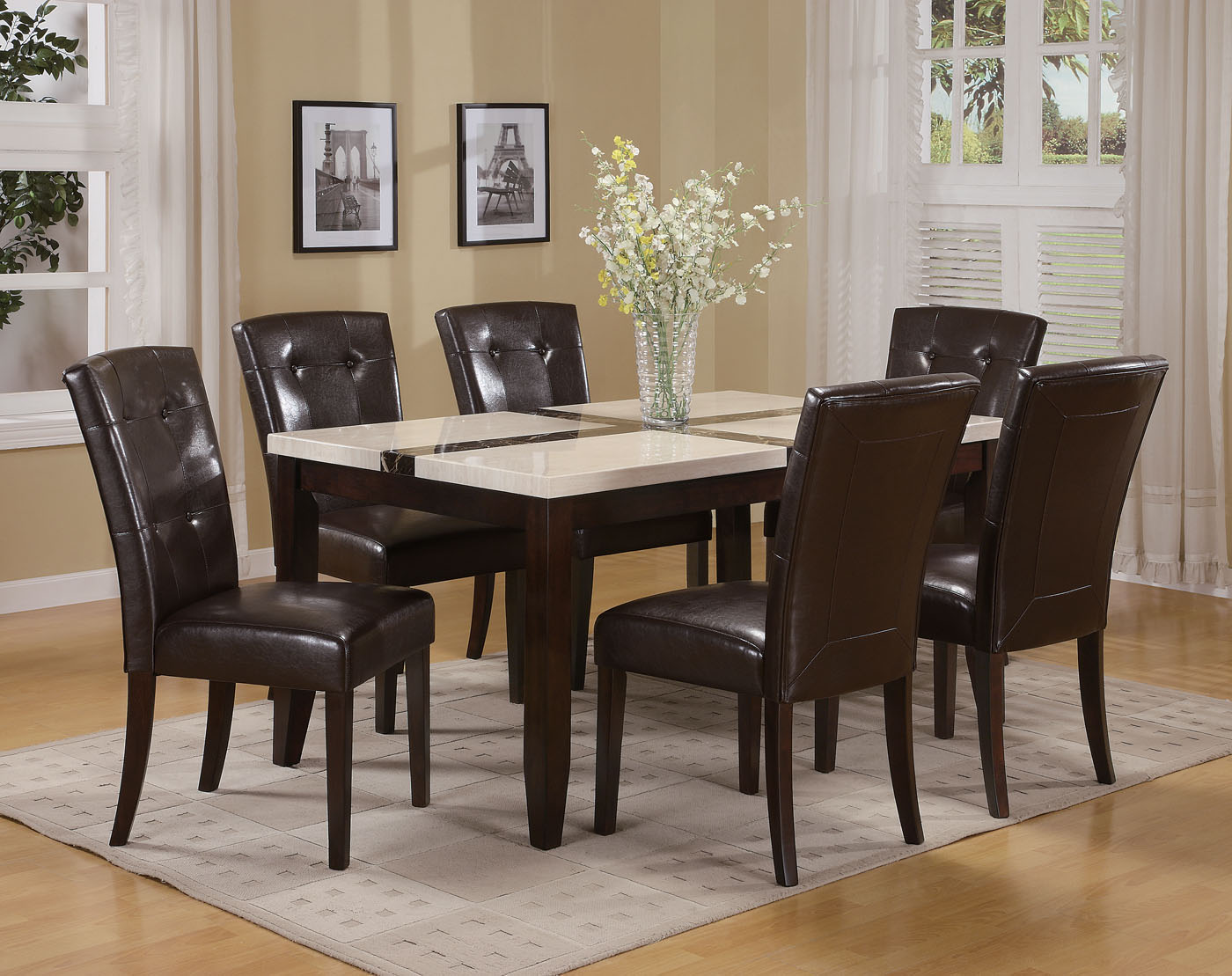 acme justin white faux marble top dining table set in espresso marble top kitchen table Acme Justin White Faux Marble Top Dining Table Set in Espresso by Dining Rooms Outlet