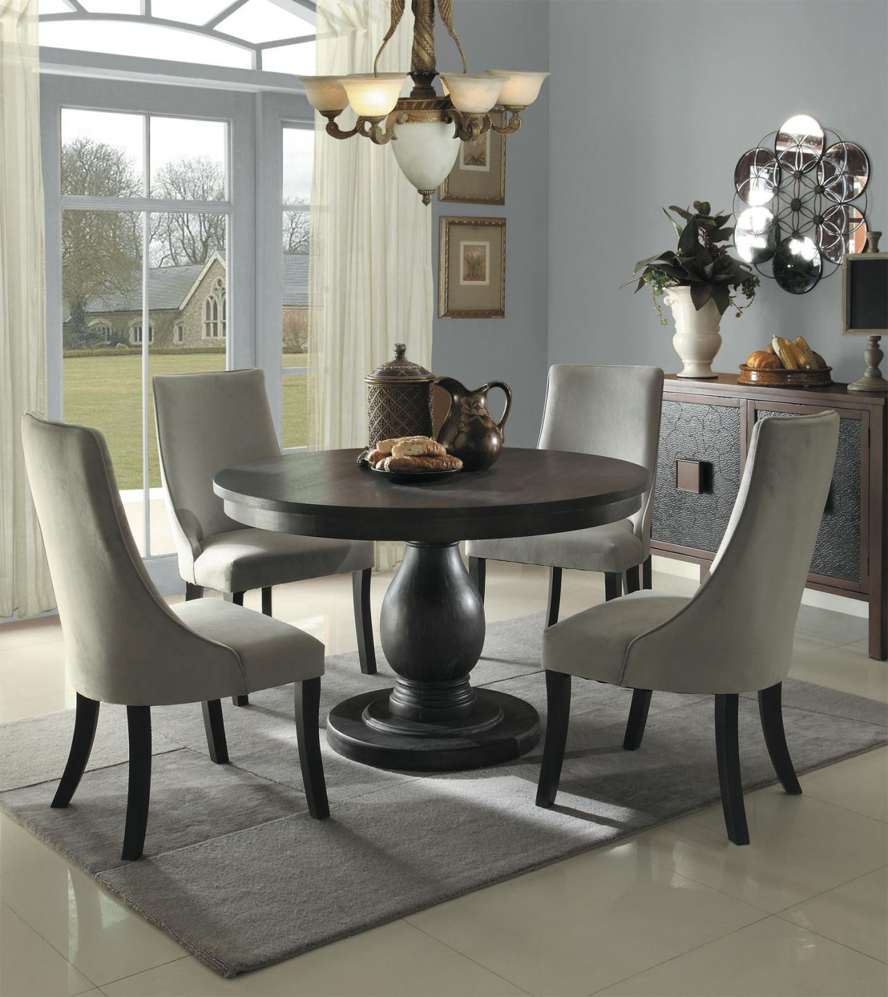 homelegance dandelion 5pc dining table set in taupe kitchen round table set Homelegance Dandelion 5pc Dining Table Set in Taupe