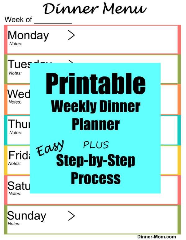 Free Printable Weekly Dinner Menu Planner - The Dinner-Mom
