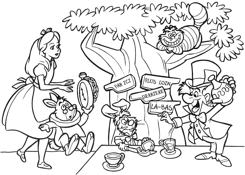 Coloring Pages Alice In Wonderland - Sanfranciscolife