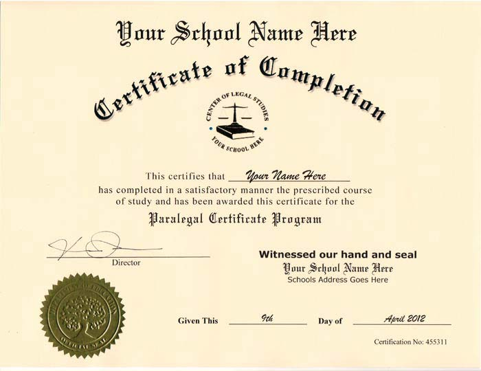 Fake Paralegal Certificate Online - Diplomas and More - sample school certificate
