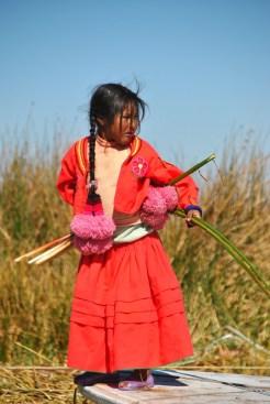 Bambina I sola Uros, Titicaca lake