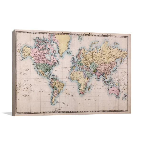 1860\u0027s World Map Art Print Framed Wall Art For Sale