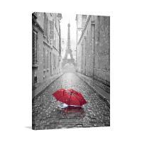 Eiffel Tower & Red Umbrella Black and White Canvas Print