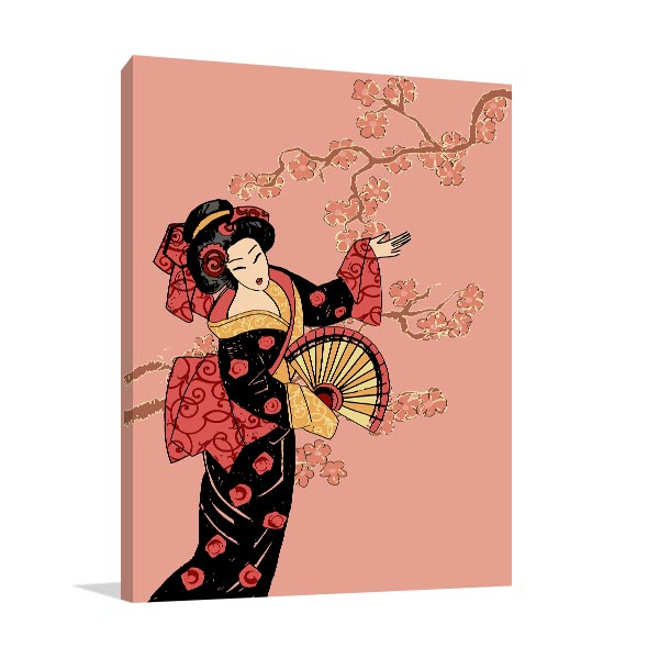 Geisha in Pink Wall Art Print