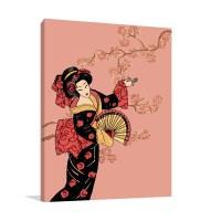 Geisha in Pink Wall Art Print | Affordable Modern Art