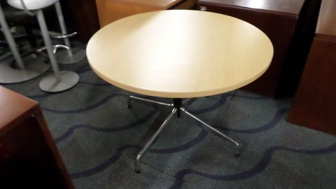 Used Round Maple Conference Table Direct Office Solutions