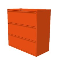 3 Drawer Side Filing Cabinet Orange
