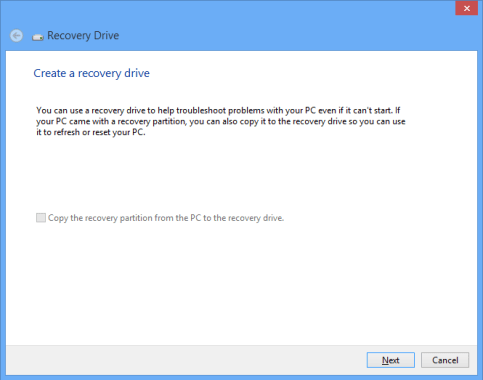 Windows 8 Create Recovery Media