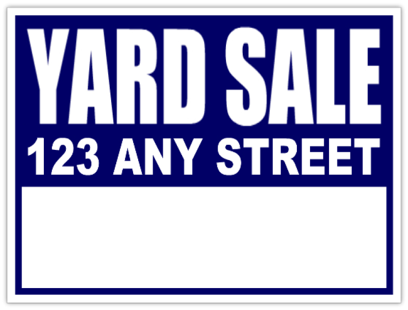 Yard Sale Signs - Neighborhood Sale Blue Lawn Sign