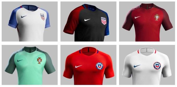 (Top row: U.S. home and away, Portugal home; Bottom row: Portugal away, Chile home, Chile away)