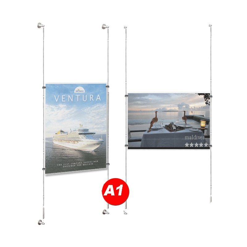 A1 Poster Holder Kit Window Cable Display Systems