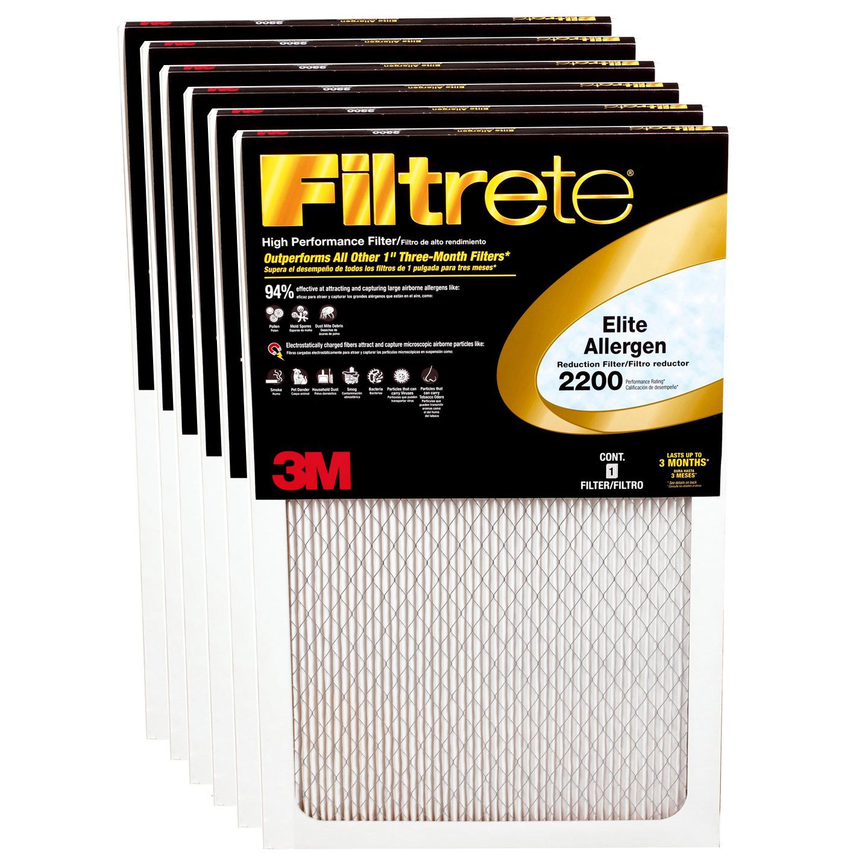 3m Filtrete 16x25x1 Elite Allergen Reduction Air Filter 6