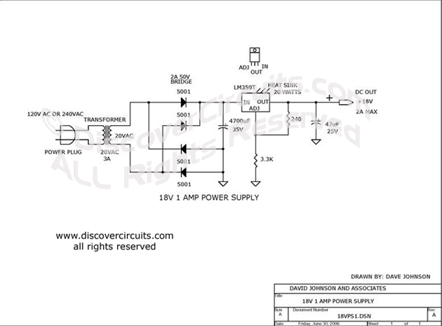 Circuit 8v AC to DC Power Supply__ Circuit designed by David A