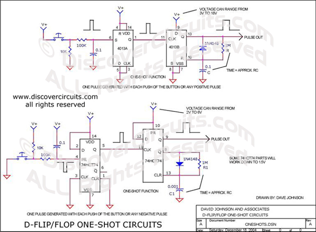 Circuit D-FLIP/FLOP ONE SHOT CIRCUITS__ Circuit designed by David A
