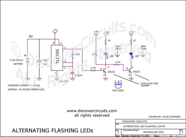 Hobby Circuit - Wig/wag LED Flasher __ Circuit s designed by David A