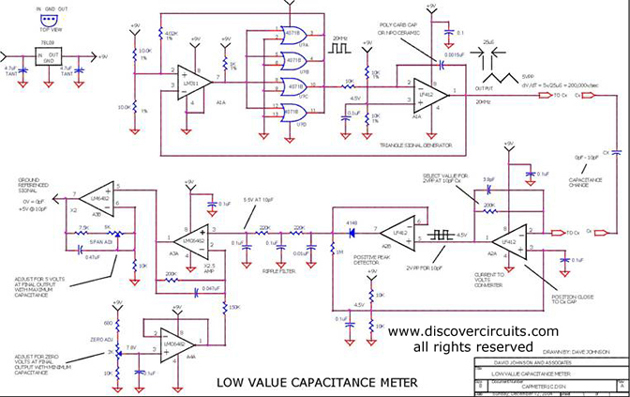 Circuit - Low Value Capacitance Meter - Circuits designed by David A