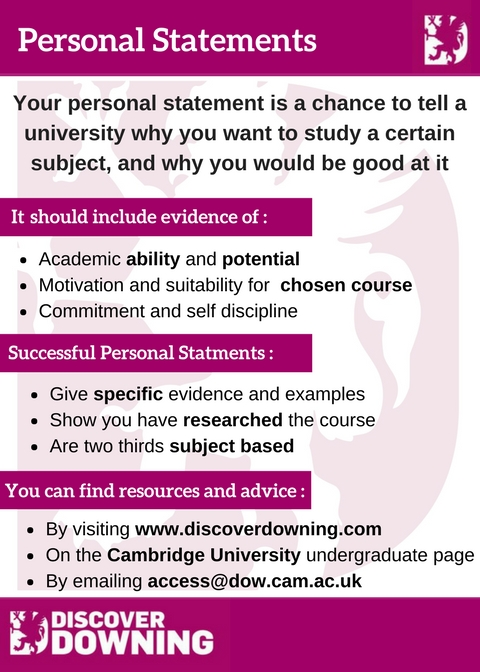 Personal Statements Discover Downing - personal statements