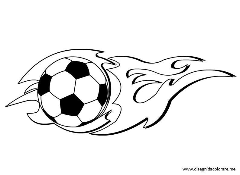 Pallone Calcio Con Fiamma Da Colorare