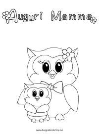 Festa della Mamma  Gufi | Disegni da colorare