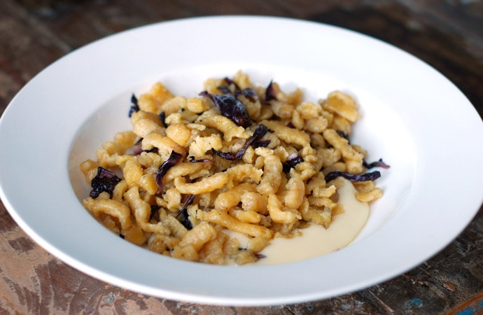 Spätzle-style Passatelli Sauteed with Radicchio on Cheese Fondue