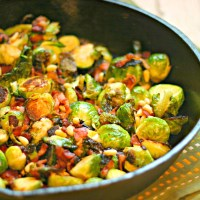 Sauteed Brussels Sprouts with Bacon and Pine Nuts