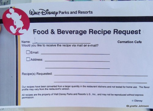 Dining in Disneyland New Recipe Request Forms Pop Up in Disneyland
