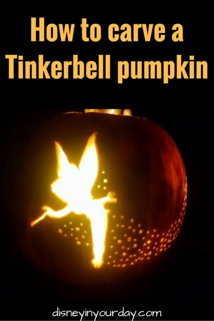 Carving a tinkerbell pumpkin disney in your day for Tinkerbell pumpkin template free