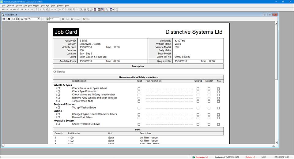 Distinctive Systems Vehicle Maintenance System (VMS)