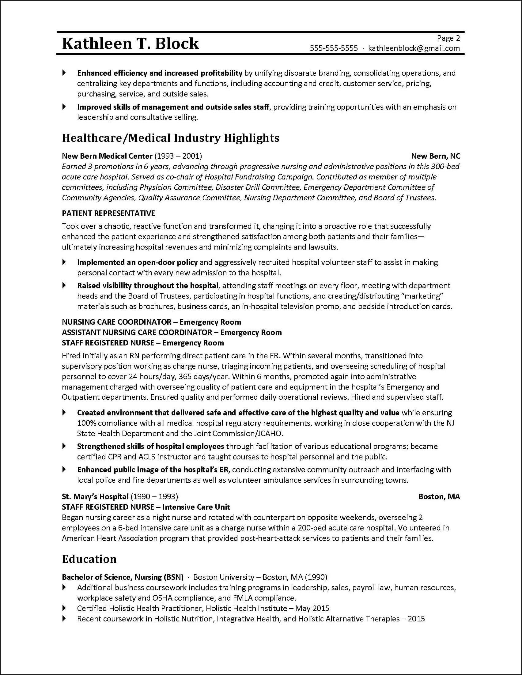 Career Change Management Resume Example