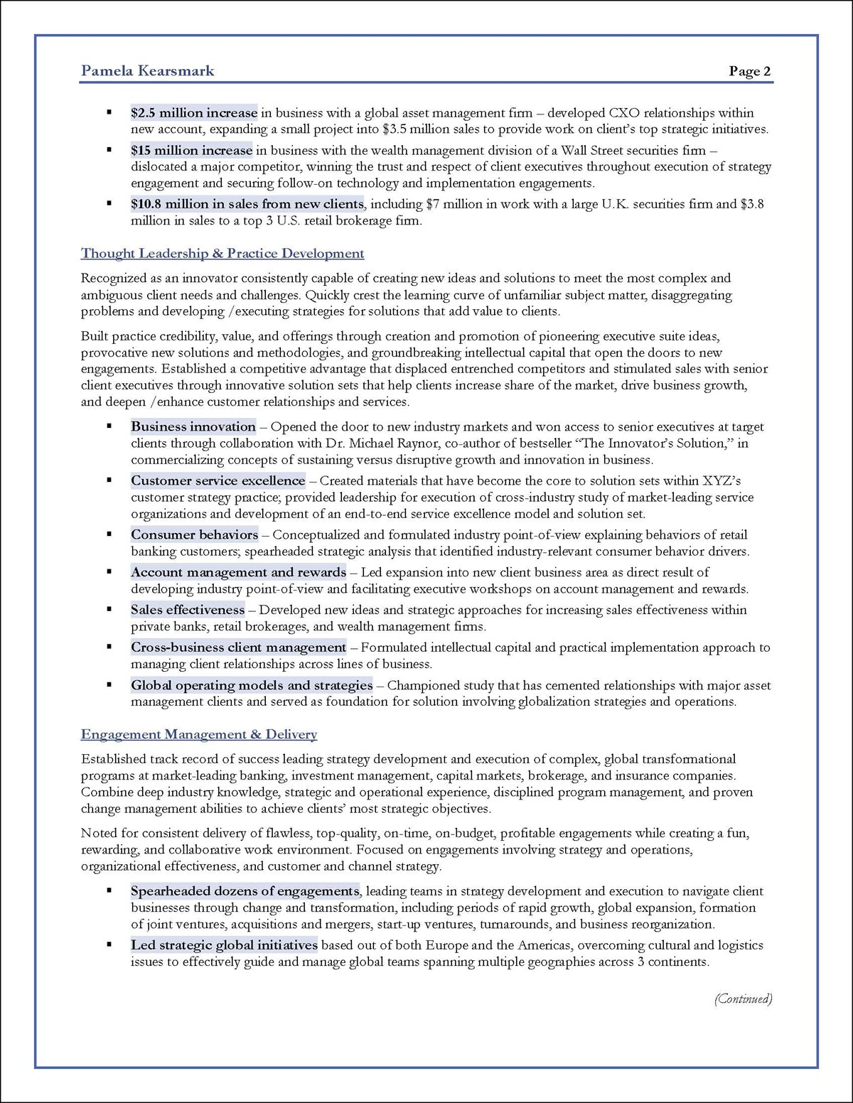 business consultant resume examples