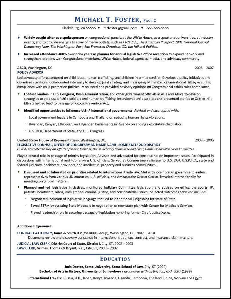 lobbyist description on resume sample