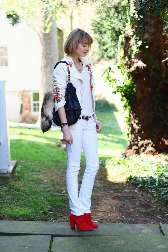 embroidered blazer and white jeans