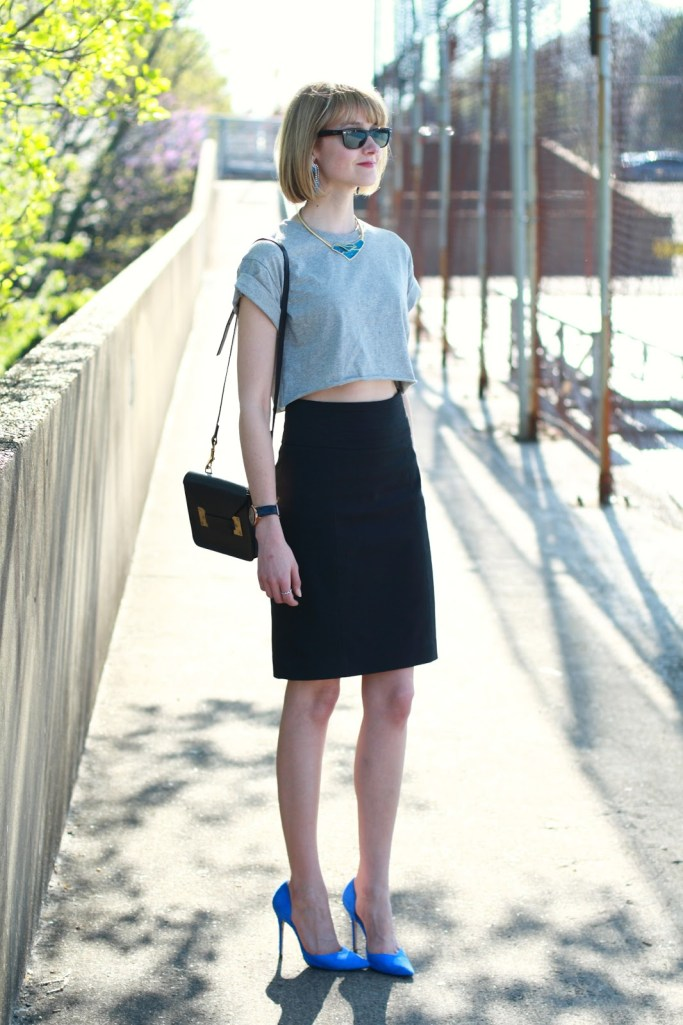 cropped top and pencil skirt