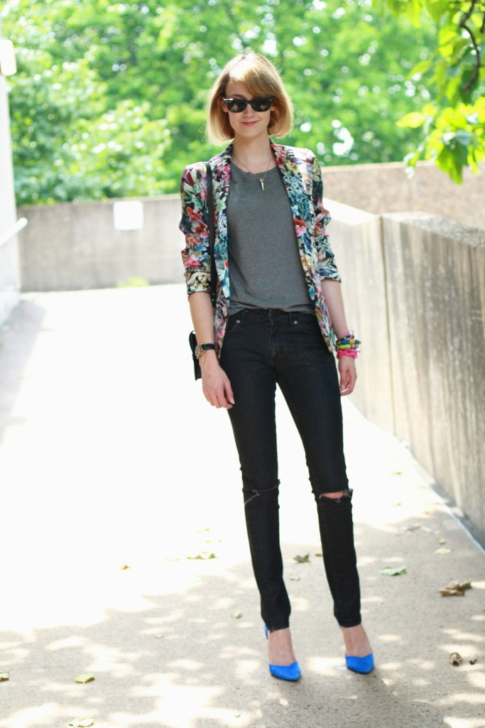 floral blazer and distressed jeans