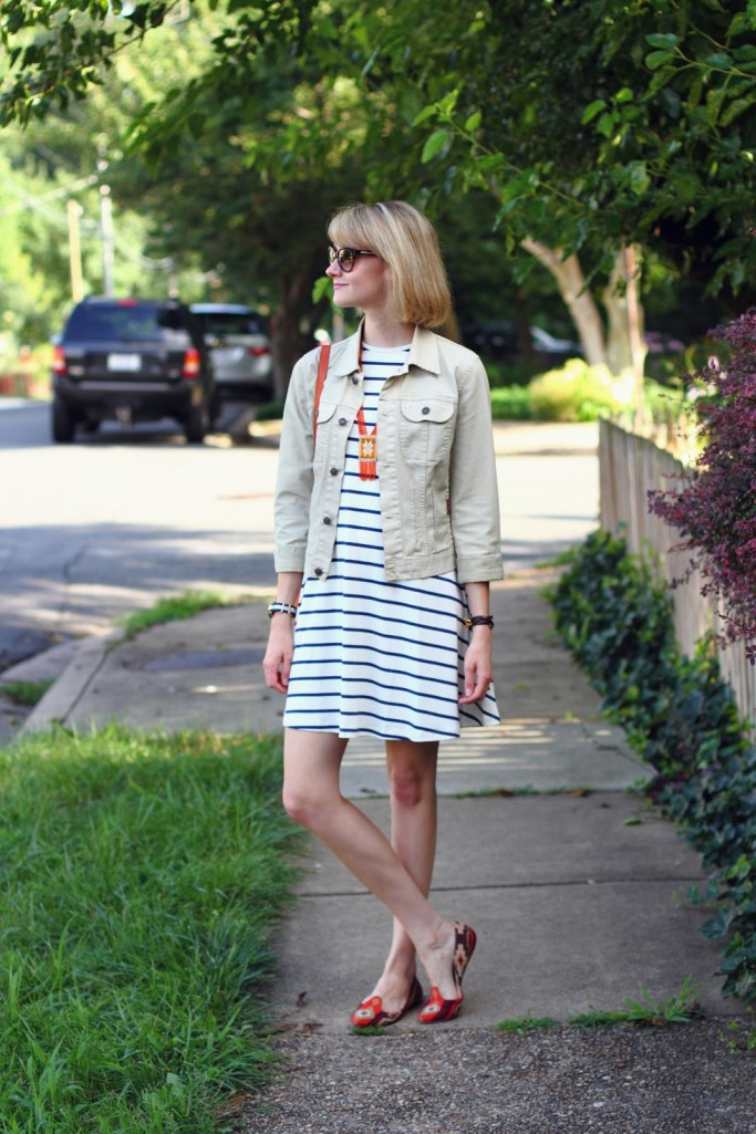 striped swing dress and orange flats