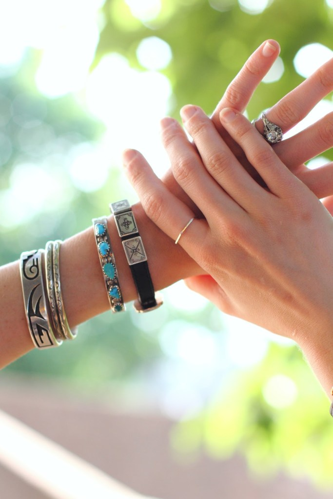 turquoise and silver bracelets and Elaine B ring