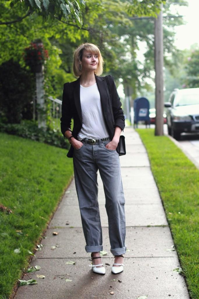 tailored blazer, boyfriend jeans, and heels
