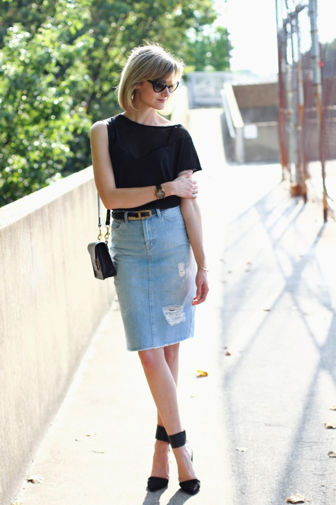 District of Chic: black mesh insert top and distressed denim skirt