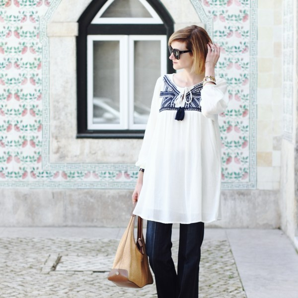 bohemian tunic and tailored denim
