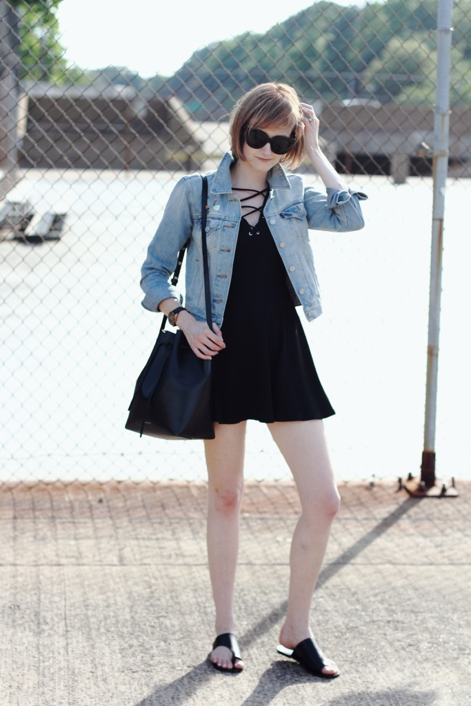 H&M lace-up dress and Levi's jacket