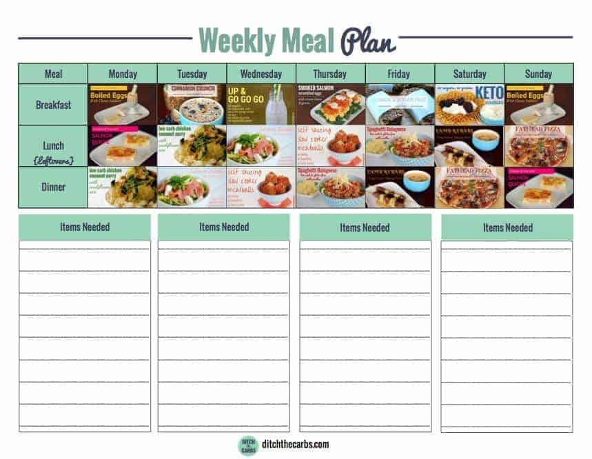 Free Low Carb Meal Plan - Ditch The Carbs - basic meal planner