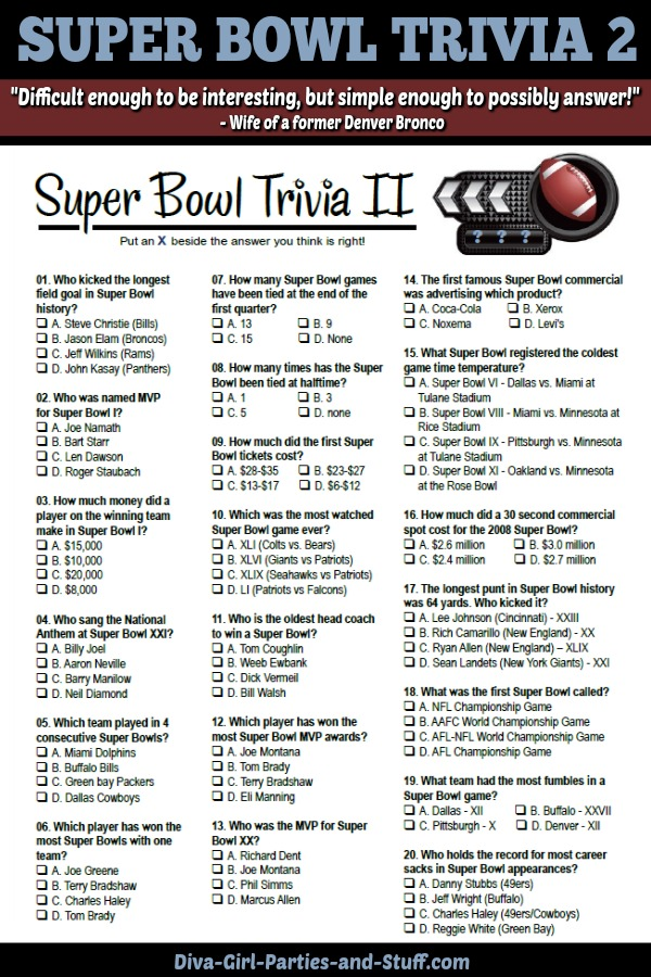 Super Bowl Trivia Questions Last Updated Jan 10 2019